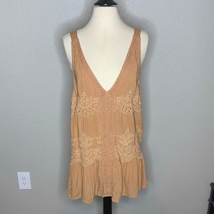 Boho Mustard Brown Embroidered Top NWT Sz XL